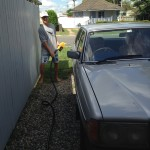 Filling up the benz with centrifuge filtered wvo