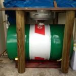 Closeup of initial oil filtering setup