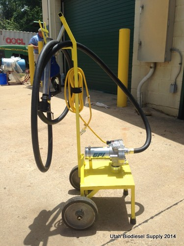 Side shot of Larrys Biodiesel Fuel Pump Cart