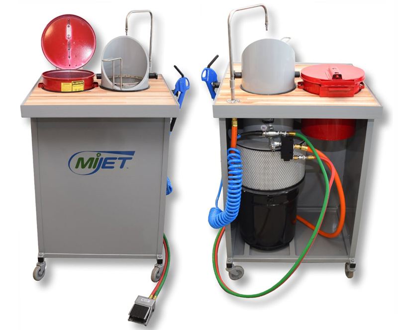 MiJET 8inch Workstation hands free with dip tank and parts basket
